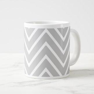 Gray and White Chevron Pattern 2 Extra Large Mugs