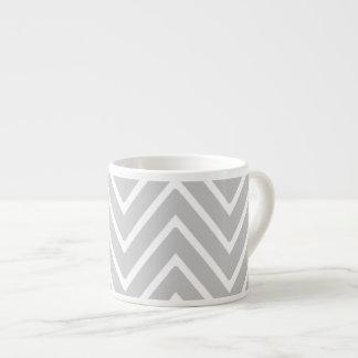 Gray and White Chevron Pattern 2 Espresso Mugs