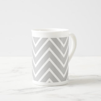 Gray and White Chevron Pattern 2 Bone China Mug