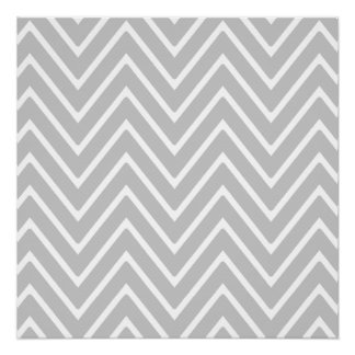 Gray and White Chevron Pattern 2 Perfect Poster