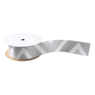 Gray and White Chevron Pattern 2 Satin Ribbon