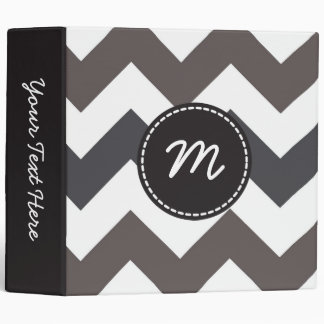Gray and White Chevron Pattern Custom Monogram 3 3 Ring Binder
