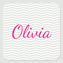 Gray and White Chevron Pattern with Bold Name Square Sticker