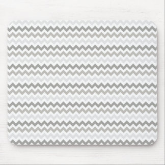 Gray and White Chevron Striped Mouse Pad