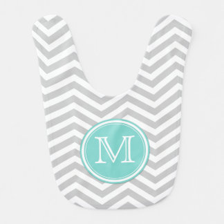 Gray and White Chevron with Teal Blue Bib
