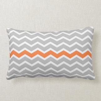 Gray and White Chevron Zigzag with Orange Stripe Lumbar Pillow