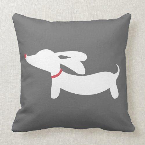 Gray and White Dachshund Wiener Dog Pillow