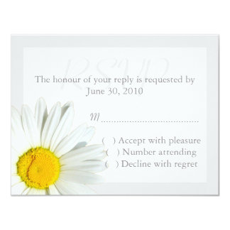 Gray and White Daisy Wedding RSVP Reply Card