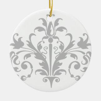 Gray and White Damask Christmas Ornament