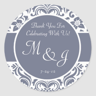 Gray and White Damask Wedding Favor Labels