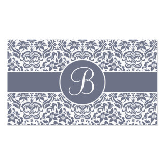 Gray and White Damask Wedding Gift Registry Cards Business Card Templates