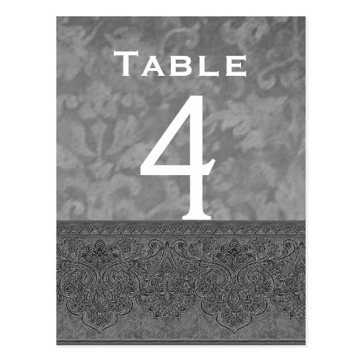 Gray and White Damask Wedding Table Number Card Post Card