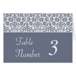 Gray and White Damask Wedding Table Number Cards Greeting Card