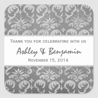Gray and White Damask Wedding Thank You S006 Square Sticker