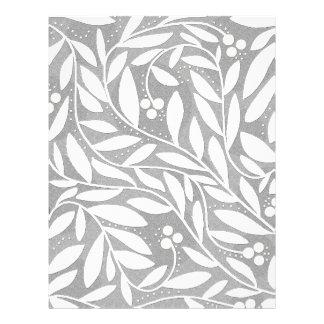 Gray and white decorative plant pattern letterhead