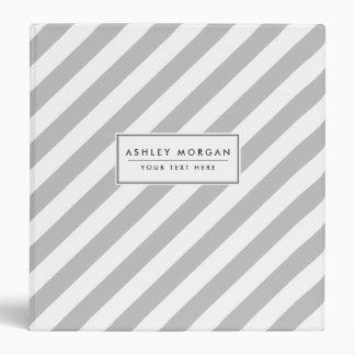 Gray and White Diagonal Stripes Pattern 3 Ring Binder