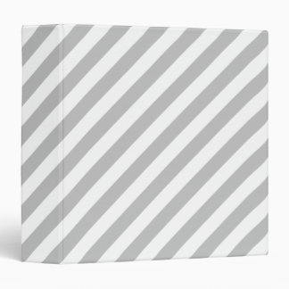 Gray and White Diagonal Stripes Pattern Binder