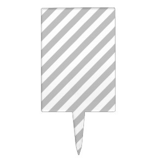 Gray and White Diagonal Stripes Pattern Cake Topper