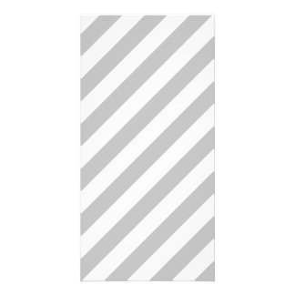 Gray and White Diagonal Stripes Pattern Card