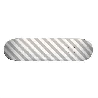 Gray and White Diagonal Stripes Pattern Skateboard Deck