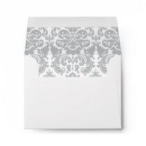 Gray and White Elegant Damask Pattern Envelope