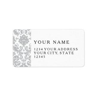 Gray and White Elegant Damask Pattern Address Label