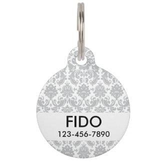 Gray and White Elegant Damask Pattern Pet ID Tag