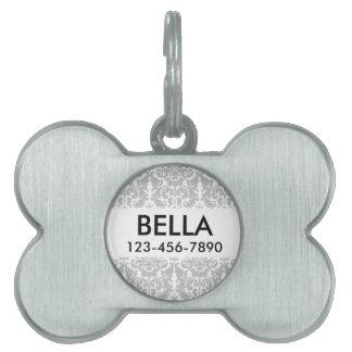 Gray and White Elegant Damask Pattern Pet Name Tag
