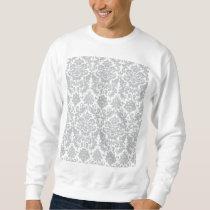 Gray and White Elegant Damask Pattern Sweatshirt