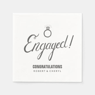 Gray and White Engagement Party Napkins