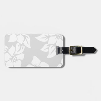 Gray and White Floral Luggage Tag