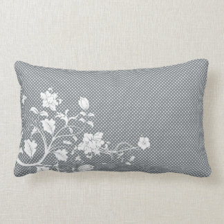 Gray and White Floral Polka Dots Pillow
