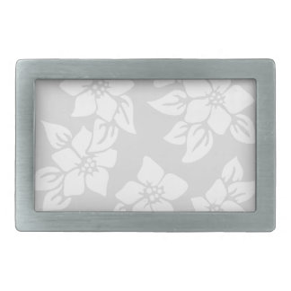 Gray and White Floral Rectangular Belt Buckle