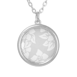 Gray and White Floral Silver Plated Necklace