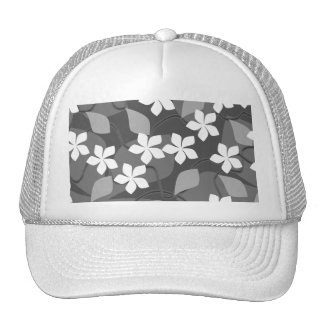 Gray and White Flowers. Floral Pattern. Trucker Hat