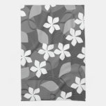 Gray and White Flowers. Floral Pattern. Kitchen Towel