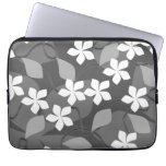Gray and White Flowers. Floral Pattern. Computer Sleeve