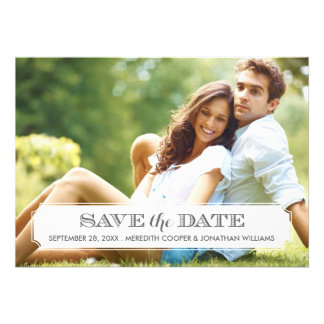 Gray and White Frame Modern Photo Save the Date Personalized Invitations
