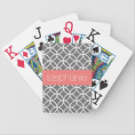 "Gray and White Geometric Pattern Custom Name Bicycle Playing Cards<br><div class=""desc"">A funky and graphic design with an area for monograms or names. If you need to adjust the artwork or change the font,  you can click on the customize area. This will take you to the design tool where you can make many changes.</div>"