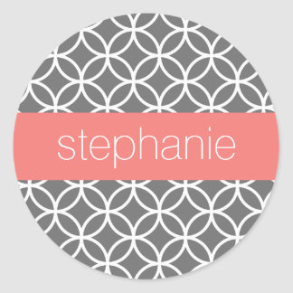 Gray and White Geometric Pattern Custom Name Classic Round Sticker