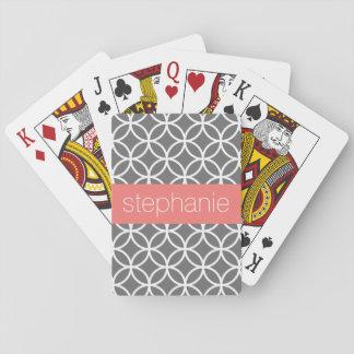 Gray and White Geometric Pattern Custom Name Poker Deck