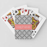 "Gray and White Geometric Pattern Custom Name Playing Cards<br><div class=""desc"">A funky and graphic design with an area for monograms or names. If you need to adjust the artwork or change the font,  you can click on the customize area. This will take you to the design tool where you can make many changes.</div>"