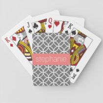 Gray and White Geometric Pattern Custom Name Playing Cards