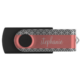 Gray and White Geometric Pattern Custom Name USB Flash Drive