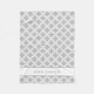 Gray and White Geometric Pattern Personalized Baby Fleece Blanket