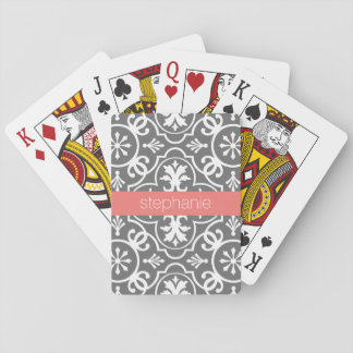 Gray and White Geometric Pattern with Custom Name Playing Cards
