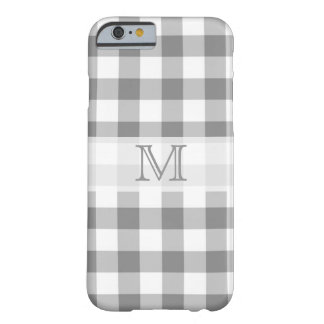 Gray And White Gingham Check Monogram Barely There iPhone 6 Case
