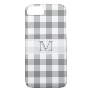 Gray And White Gingham Check Monogram iPhone 7 Case