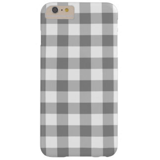 Gray And White Gingham Check Pattern Barely There iPhone 6 Plus Case