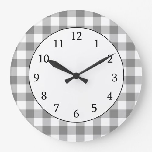 Gray And White Gingham Check Pattern Clock